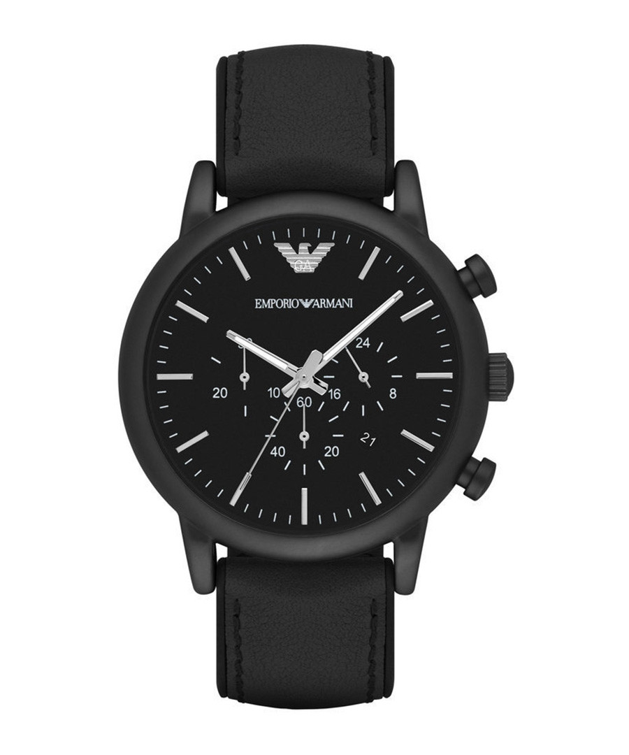 Black stainless steel & leather watch Sale - emporio armani