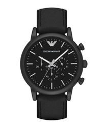 Black stainless steel & leather watch