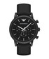Black stainless steel & leather watch Sale - emporio armani Sale