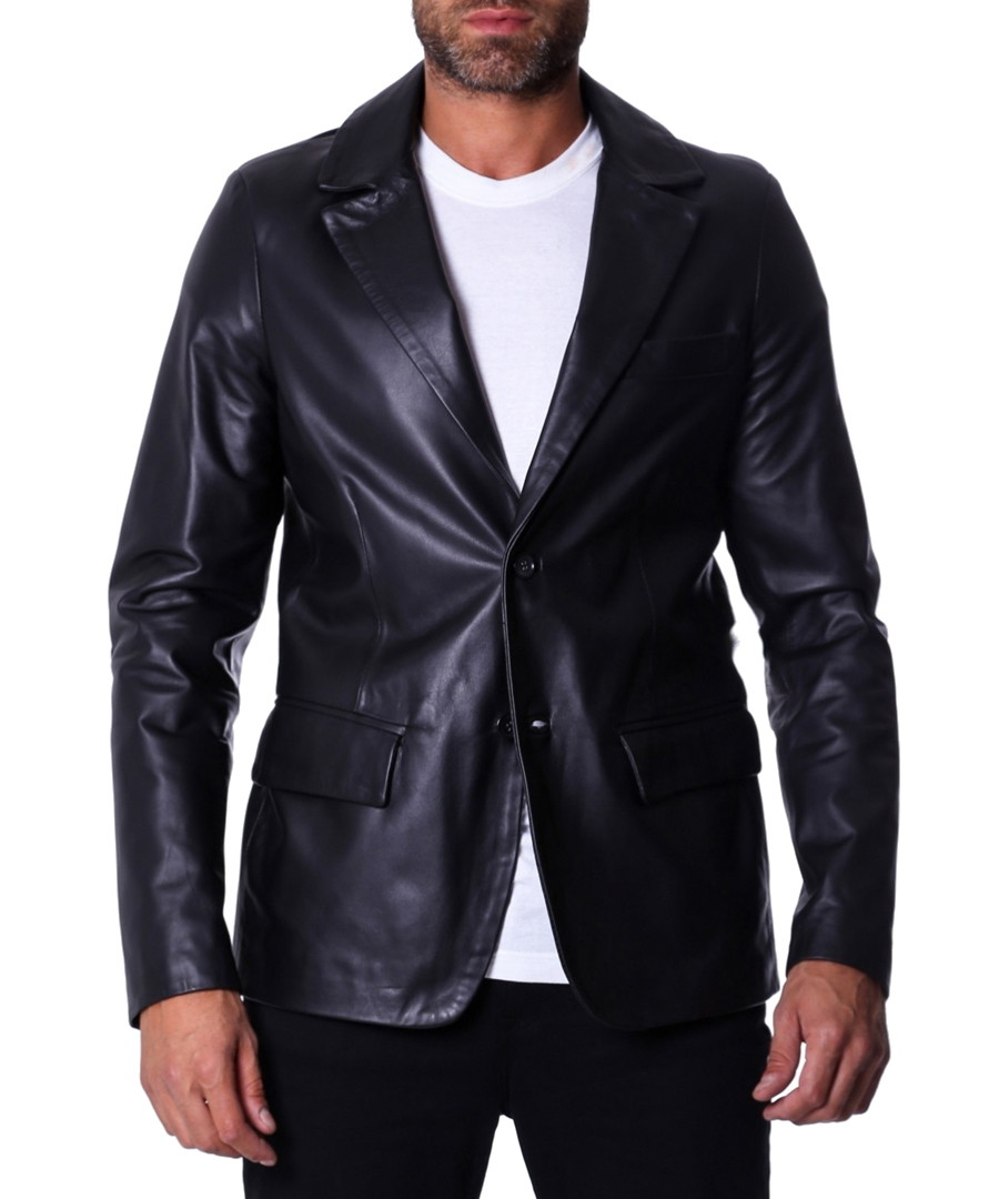 Black leather two-button blazer Sale - ad milano