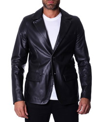 Black leather two-button blazer