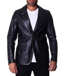 Black leather two-button blazer