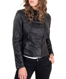 Black leather off-centre zip jacket