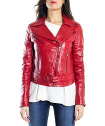 Red leather belted biker jacket