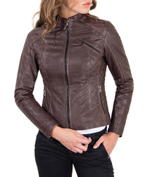 Brown leather quilted panel jacket