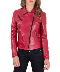 Red leather asymmetric zip jacket