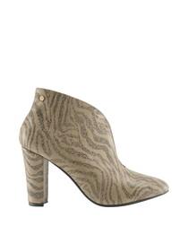 Beige leather zebra print heeled boots