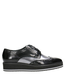 Black leather sneaker brogues