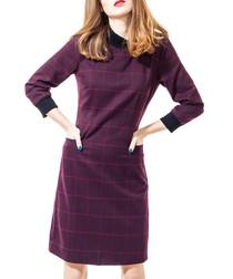 Burgundy checked dress