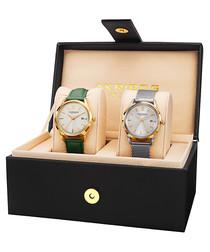 2pc green & silver-tone watch & box