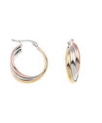 18k gold-plated tri-tone hoop earrings