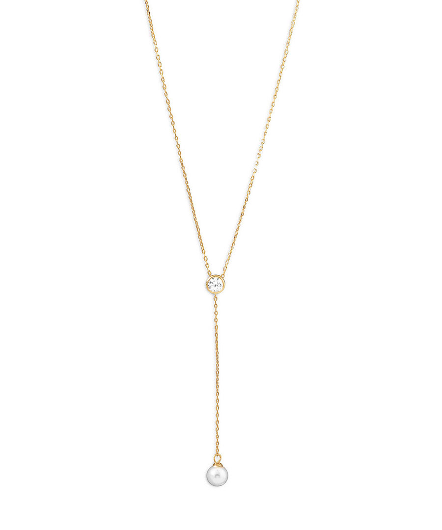 18k gold-plated pearl drop necklace Sale - chloe collection by liv oliver