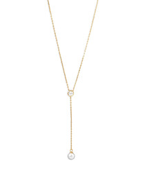 18k gold-plated pearl drop necklace