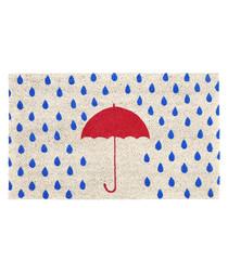 Rainy Day blue umbrella door mat
