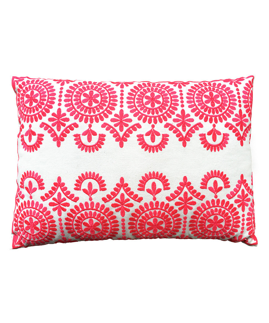 Safi pink cotton embroidered cushion Sale - Bombay Duck