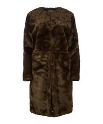 Women's Evie olive faux fur coat