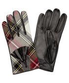 Nappa black leather tartan gloves