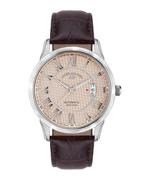 Le Maitre brown leather watch