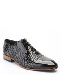 Black textured leather Oxford shoes
