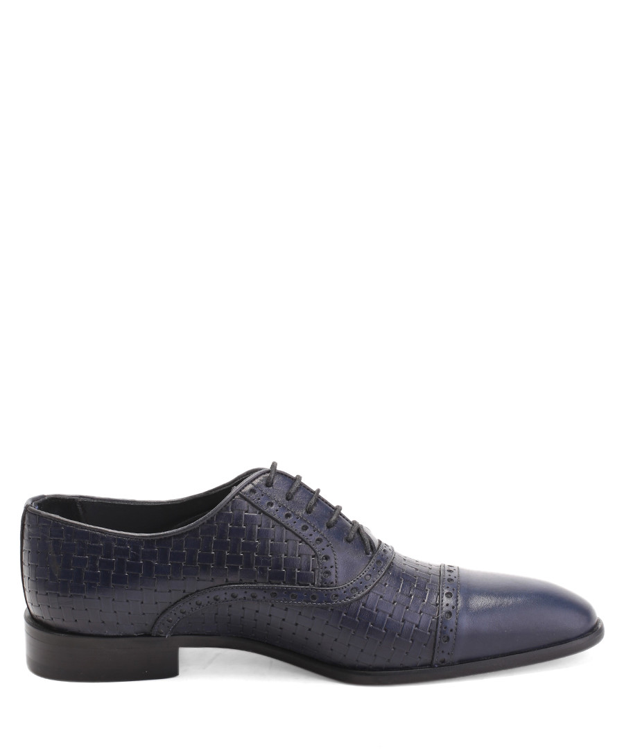 Dark blue leather woven Derby shoes Sale - deckard