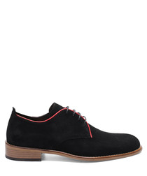 Black & red suede desert boots