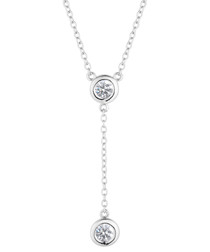 Dewdrop white gold-plated necklace