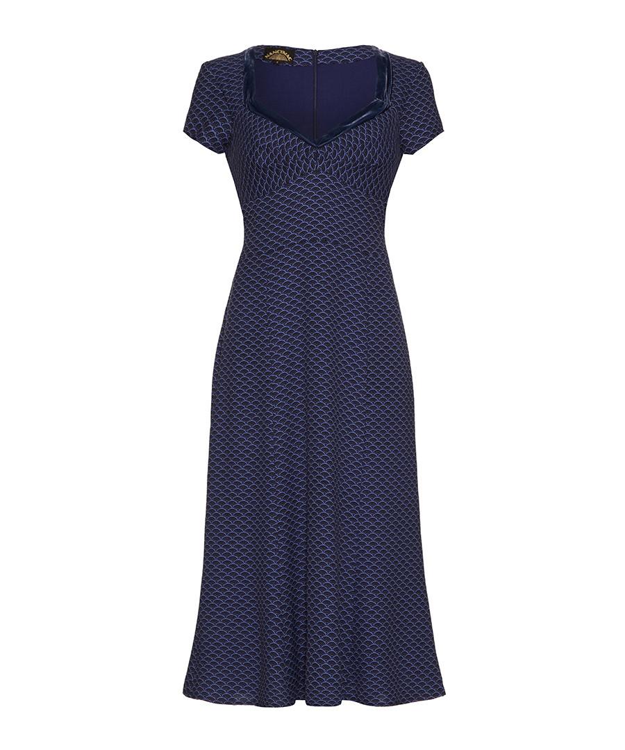 Katrina blue moss crepe sweetheart dress Sale - NANCY MAC
