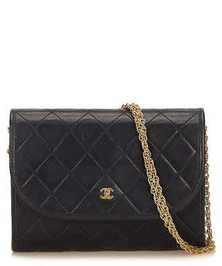 925de0158f5 Black leather quilted foldover bag Sale - Vintage Chanel Sale