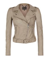 Argal stone leather biker jacket