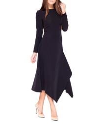 Black asymmetric hem midi dress