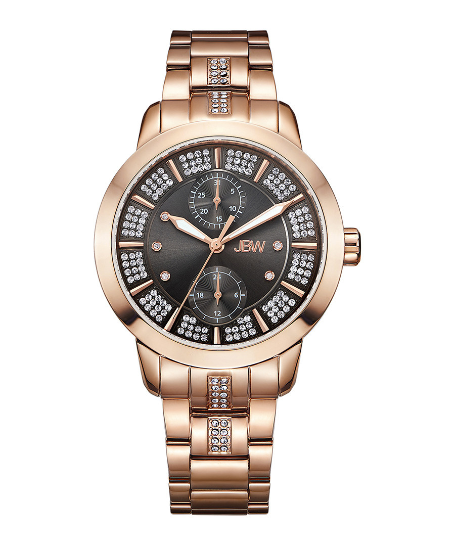 Lumen 18k rose gold-plated black watch Sale - jbw