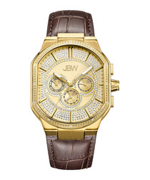 Orion 18ct gold-plated & brown watch