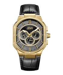 Orion gold-plated black leather watch