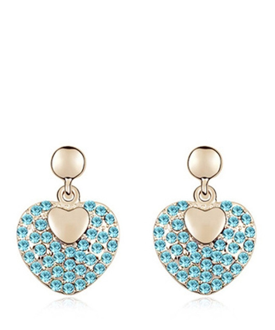 Blue gold-plated crystal earrings Sale - Blue Pearls