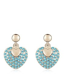 Blue gold-plated crystal earrings