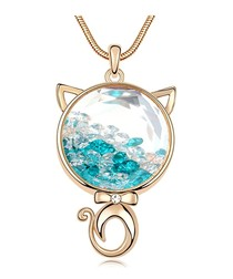 Blue crystal cat motif necklace