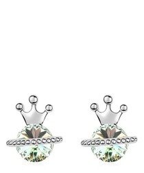 Silver-tone & green gold-plated studs