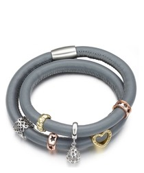 Grey Blue Leather Charm's Double Row Bracelet and Stainless Steel