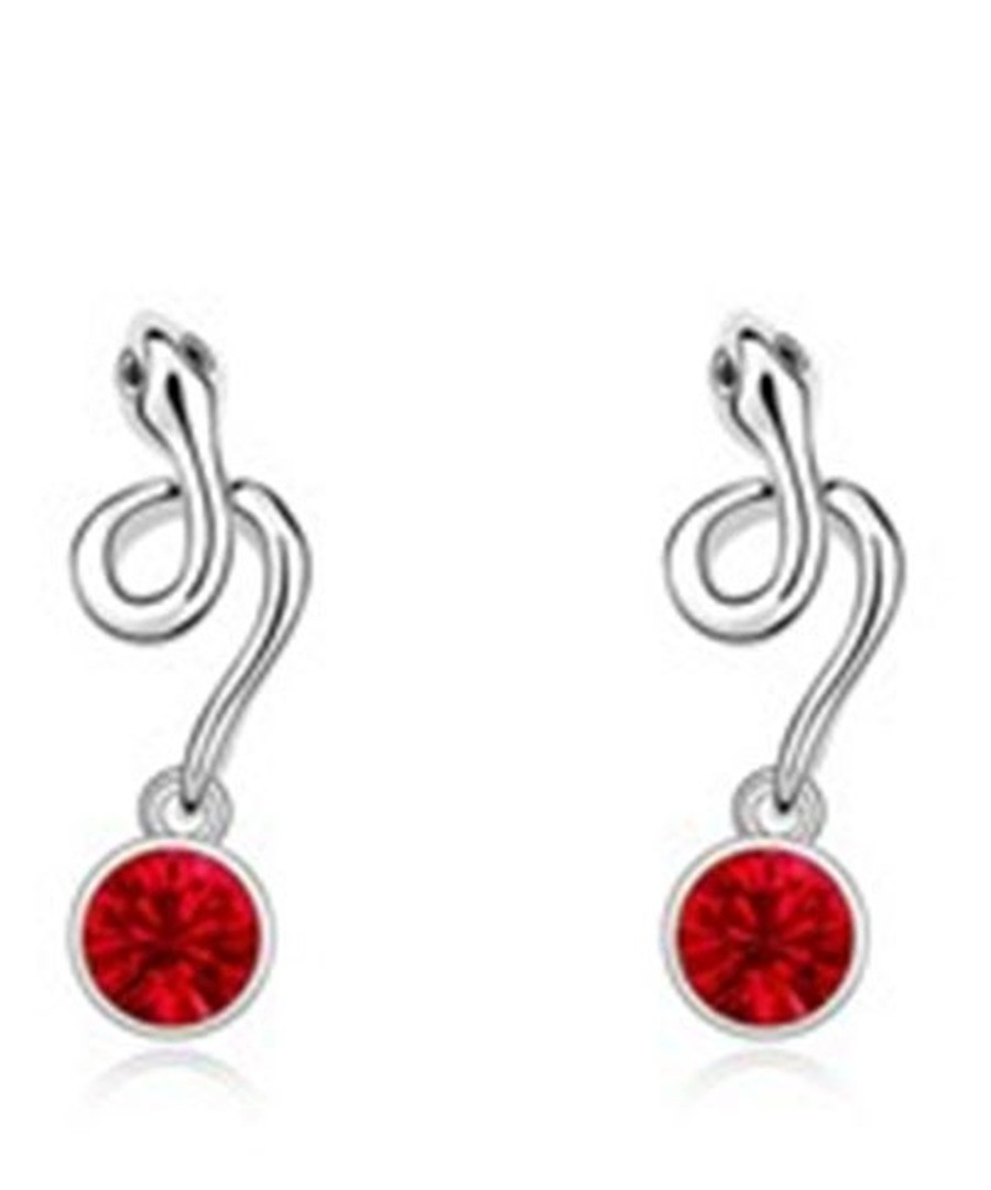 Red gold-plated crystal snake earrings  Sale - Blue Pearls