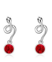 Red gold-plated crystal snake earrings