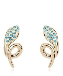 Blue gold-plated crystal snake earrings