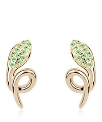 Lime gold-plated crystal snake earrings