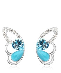 Blue gold-plated crystal wing studs
