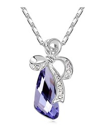 Purple gold-plated crystal bow necklace