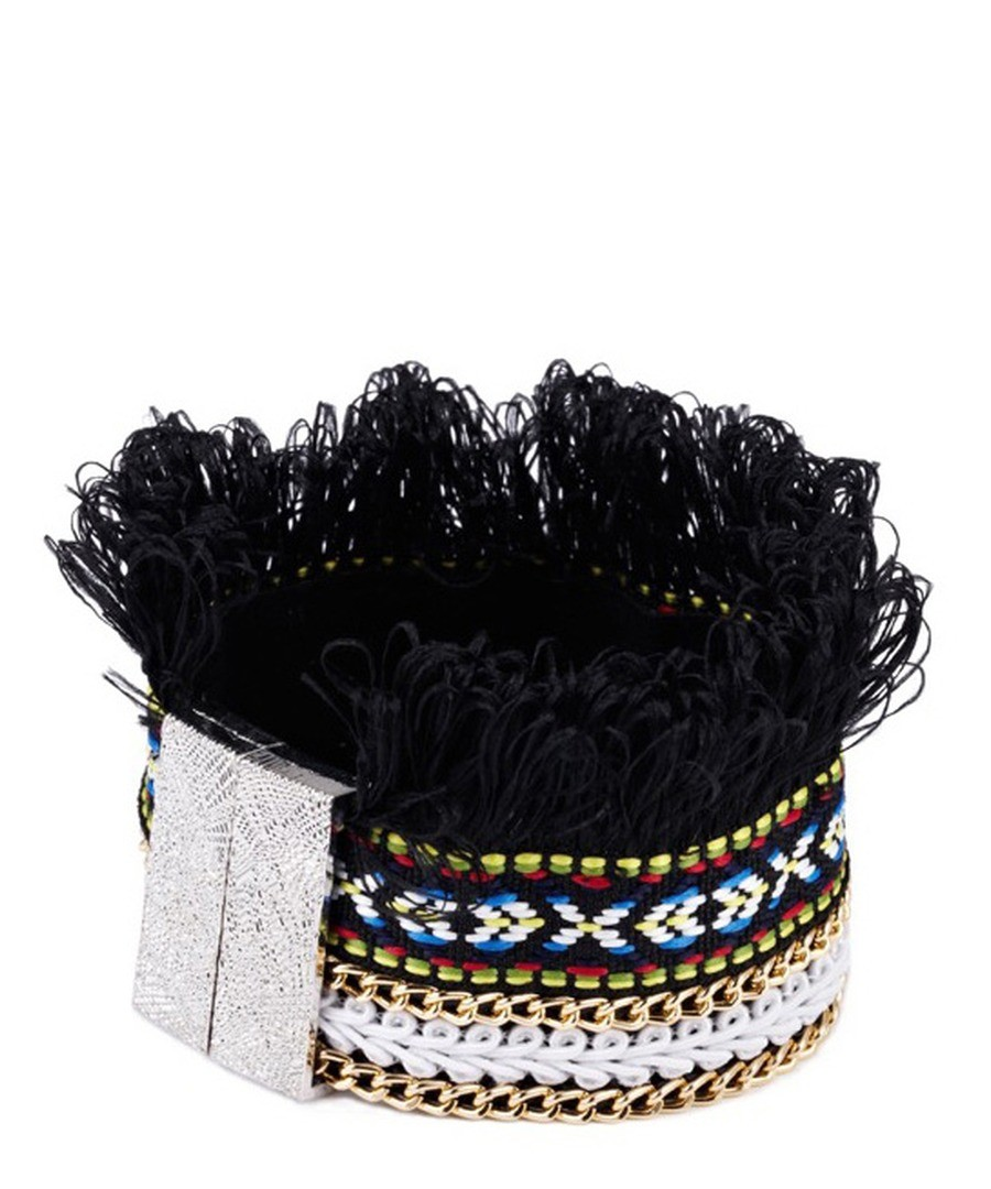 Black Fringed Cotton Bracelet and Stainless Steel Sale - Blue Pearls