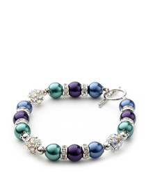 Blue and Purple Pearls, Crystal and Rhodium Plated 1 Row Bracelet