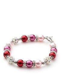Pink Pearls, Crystal and Rhodium Plated 1 Row Bracelet