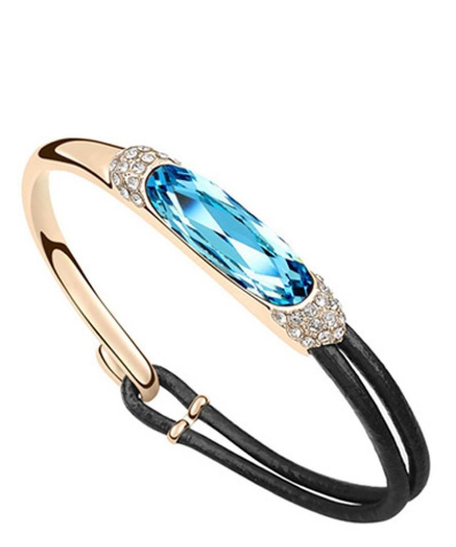 Blue crystal & leather bracelet Sale - Blue Pearls