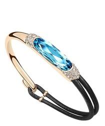 Blue crystal & leather bracelet