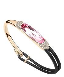 Pink crystal & leather bracelet